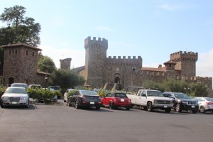 The castle as viewed from the parking lot