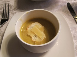 The Artichoke Soup with Garnish