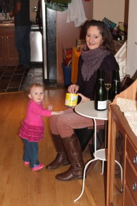 Feeding the Boo before dinner.